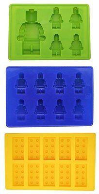Lego Toy Bricks and 2 Figures Silicone Ice Cube Mold Trays Molds - Lego Silicone Mold