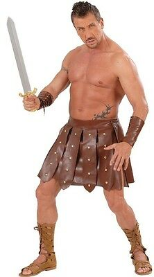 Brown Roman Gladiator Leather Effect Skirt and Armbands Mens Fancy Dress - Leather Gladiator Costume