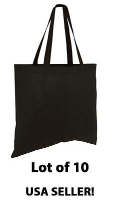 Cheap Reusable Bags (Lot 10 Large Tote Bag Reusable Black Shopping Grocery Travel Cheap Bulk Bags)