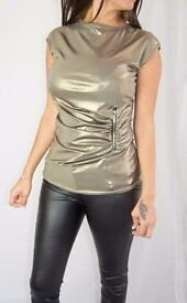 Gold Metallic Party Top With Zip Detail - Size 8