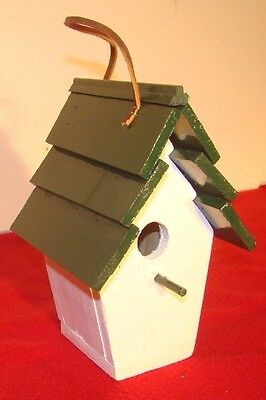 Cute Wood Bird House - Hand Made Indoor / Outdoor Home decor Green Roof