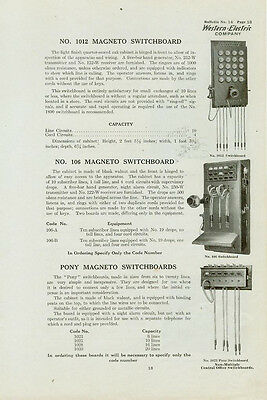 Catalog Page Ad Telephone Switchboard #4 Western Electric Baxter-Cookeville 1912