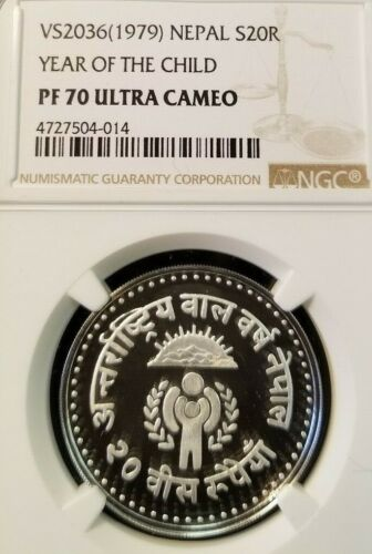 1979 NEPAL SILVER 20 RUPEES YEAR OF THE CHILD NGC PF 70 ULTRA CAMEO FINEST KNOWN