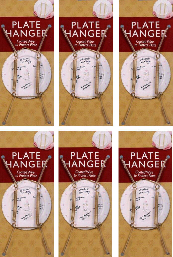 Gold Plate Display Hangers, Spring Type,Hold 5 to 7 Inch Plates -Pack of 6 Crafts