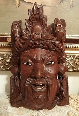 Vintage HAND CARVED CHINESE ROSEWOOD MASK w/ EYES TEETH & DRAGONS Detailed #2