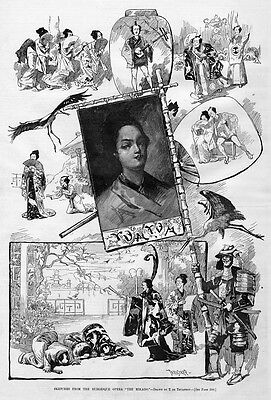 BURLESQUE JAPANESE OPERA, THE MIKADO, ANTIQUE PRINT