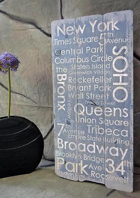 Holzbild NEW YORK Holzschild Wandschild Vintage Landhaus Shabby 80 x 40 cm    online kaufen
