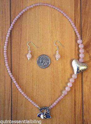 Handmade Genuine Rose Quartz & PMC.999 Fine Silver Heart Necklace & Earrings Genuine Heart Rose Quartz Necklace