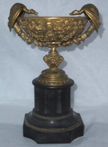 19th Century Bronze and Black Marble Tazza Urn
