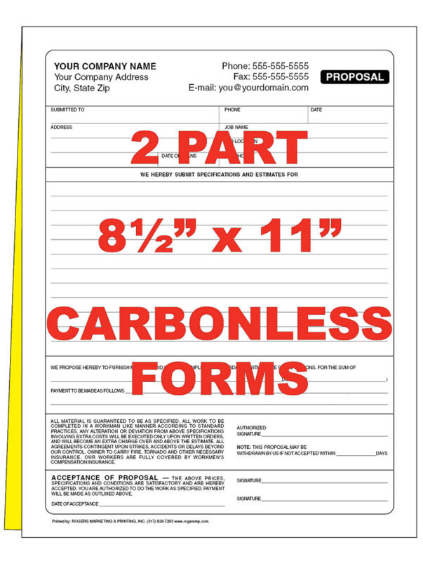 250  2 part Custom Carbonless NCR Forms