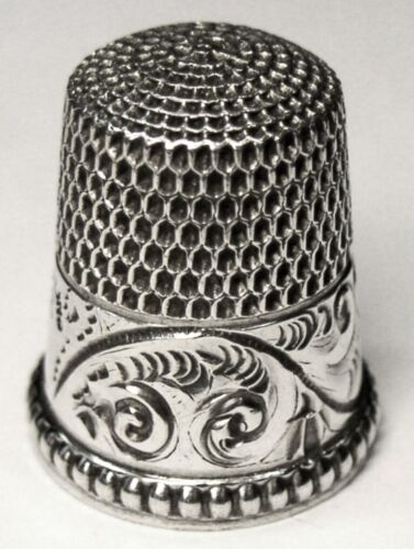 """Antique Simons Bros Sterling Silver Thimble  """"Scrolling Acanthus Leaves""""  C1890s"""
