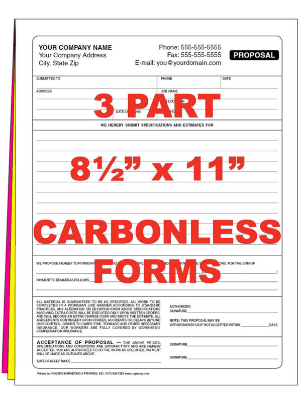 250  3 part Custom Carbonless NCR Forms