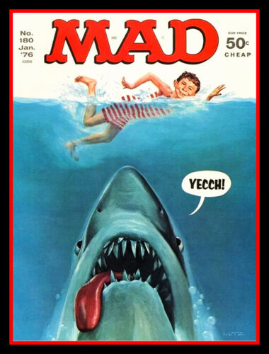 """RARE 4.75"""" MAD Magazine Jaws Sticker. Funny 1976 #180 cover decal for car laptop"""