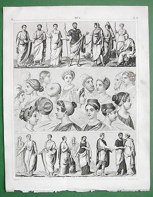FASHION in Ancient Rome Women Emperors Senators - SUPERB Antique Print