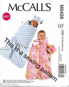 MCCALL'S SEWING PATTERN 6426 BABY NB-L SLEEPING BAG REMOVABLE SWADDLE WRAP, HAT