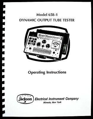 Jackson 658-1 Tube Tester Manual With Tube Test Data