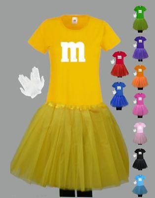 Für M&M Fans Damen Kostüm T-Shirt Tutu Tütü Fasching Karneval Gruppenkostüm Rock