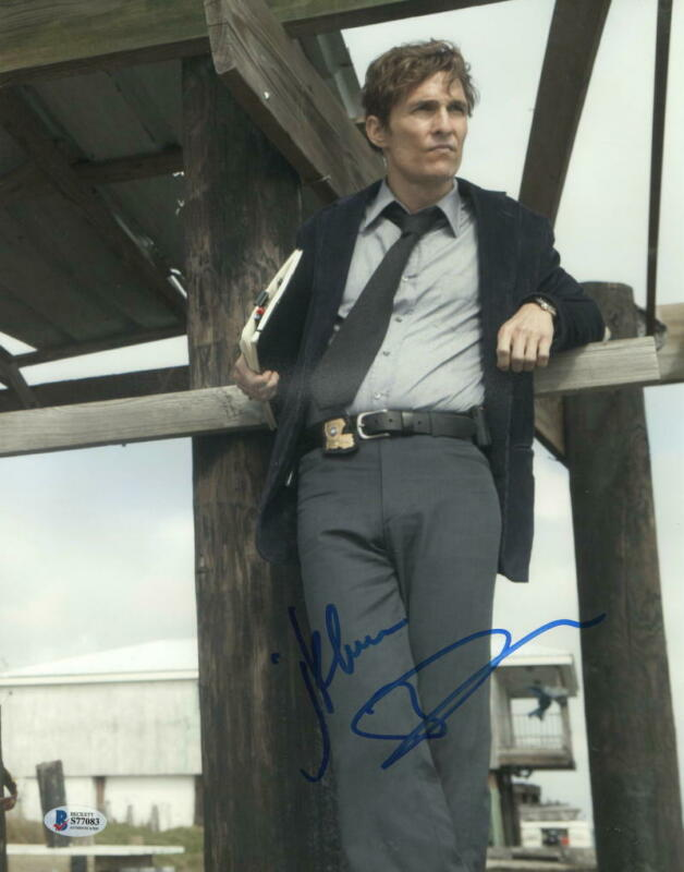 MATTHEW MCCONAUGHEY SIGNED 11X14 PHOTO TRUE DETECTIVE AUTHENTIC AUTOGRAPH BAS