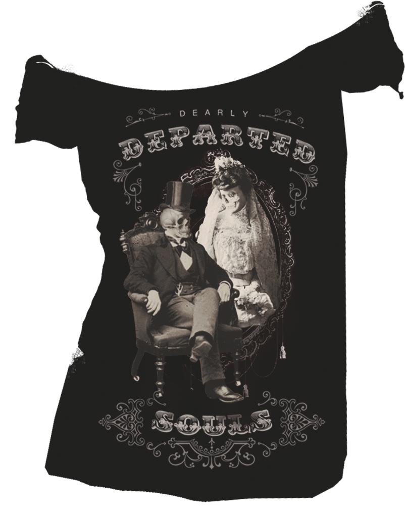 Se7en Deadly Teuer Departed Viktorianisch Skelette Schulterfrei T-Shirt 2032-OS