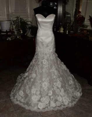 ENZOANI JENNIFER Bridal Gown Wedding Dress Size 8  Ivory Satin   REF JENNIFER