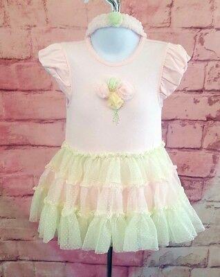 Green Dresses For Little Girls (Little Me Tutu Popover Flower Dress & Headband for Baby Girls Pink/Green)
