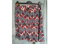 Next skirt 8 s small pattern flare short knee length vgc work office casual ladies 10