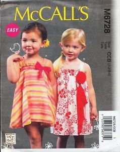 MCCALL'S SEWING PATTERN 6728 TODDLERS/GIRLS SZ 1-4 EASY GATHERED, FLARED DRESSES