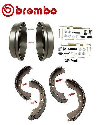 2-Brembo Rear Brake Drums /& Enduro Shoe /& Hardware kit Toyota 4Runner Tacoma Pre