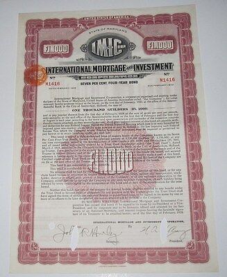 1928 International Mortgage And Investment Corp Bond Certificate   Maryland