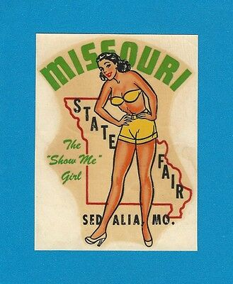 "ORIGINAL 1948 SOUVENIR ""MISS MISSOURI STATE FAIR"" SEDALIA MO PINUP DECAL ART"