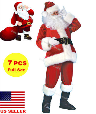Christmas Xmas Unisex Flannel Santa Clause Suit Fancy Dress Costume PartyCosplay