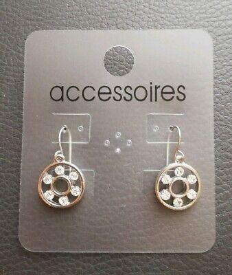NEU silberne Ohrringe / Ohrhänger mit Strass-steinen, Modeschmuck, - Silberne Modeschmuck Ringe