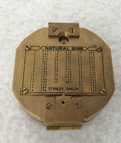 Rare Vintage Antique Solid Brass Natural Sine Stanley London Compass VGC
