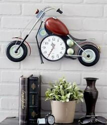 UNIQUE BIKER MOTORCYCLE ANALOG WALL CLOCK BATTERY OPERATED