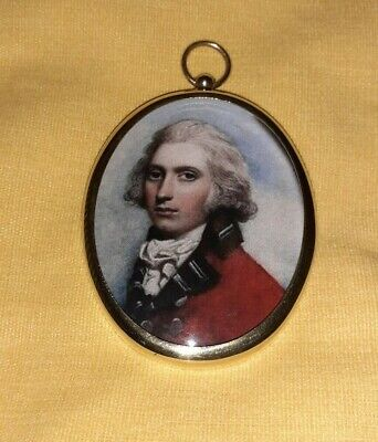 Miniature of Gentleman in an oval brass frame with convex glass