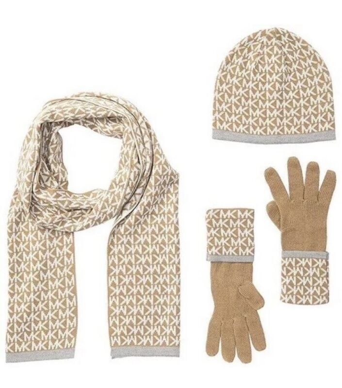 $98 Michael Kors Womens 3 Pc Set MK Logo Scarf Hat & Gloves Camel Cream One Size