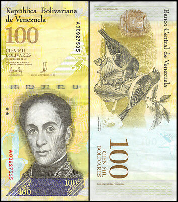 Venezuela 100,000 - 100000 Bolivares Currency, 2017, P-100, USED