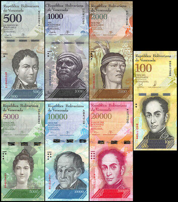 Venezuela 500-100,000 Bolivares X 7 Pieces - PCS, Set, 2016-2017, P-NEW, USED