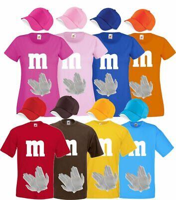 Gruppenkostüm für M&M Fans MM Karneval T-Shirt farblich passende Cap&Handschuhe