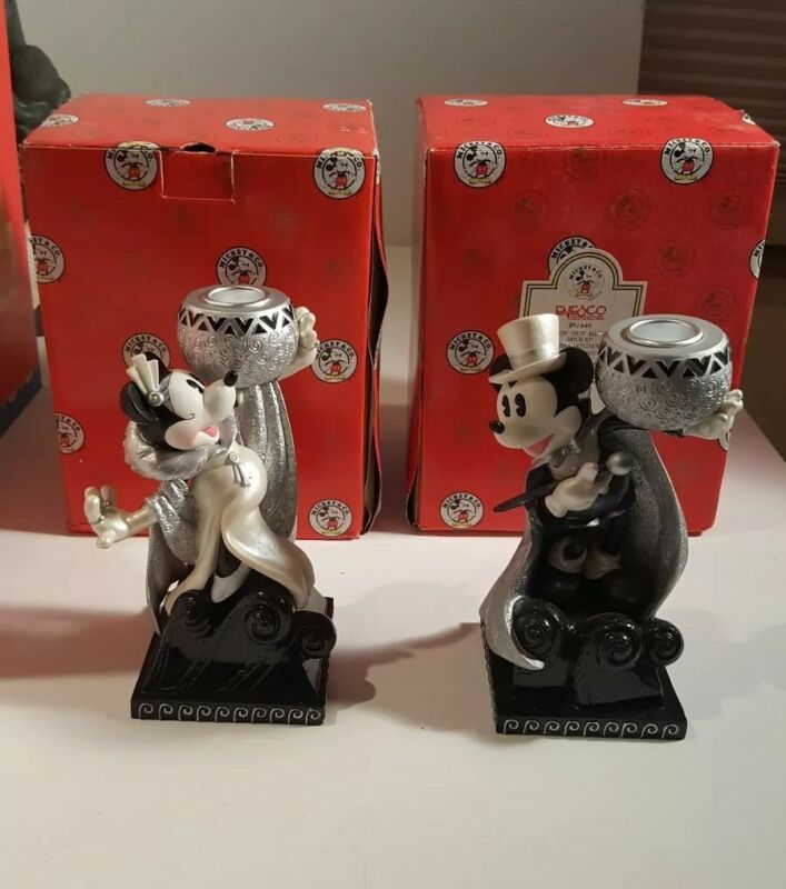 PAIR DISNEY FIGURINE CANDLE HOLDERS Steppin