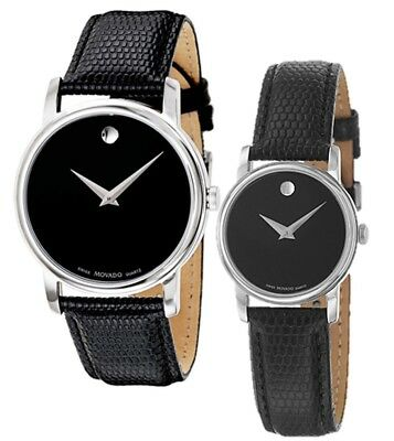 Movado Museum Black Dial Steel Black Leather Mens   Womens Watch 2100002 2100004