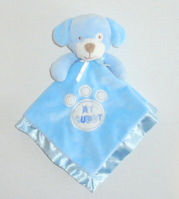 Baby Gear Blue Puppy MY BUDDY Security Blanket Dog Paw Print Velour Satin P65