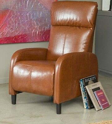RV Recliner Small Slim Leather Reclining Chair Light Brown Furniture Office
