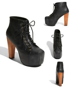 Jeffrey campbell lita shoes black dis leather ankle boots wooden heel platform ebay - Jeffrey campbell lita platform boots ...