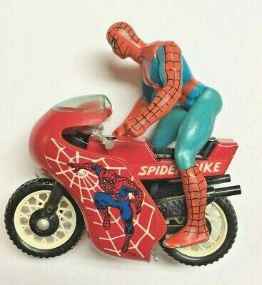 Vintage Spider Bike Spider-Man 1980 Buddy L Motorcycle Toy with Figure
