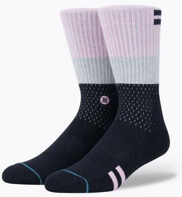 Size L *NEW* STANCE Excuses Men/'s Black Crew Socks 9-12
