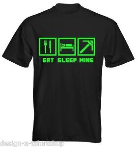 NEW-Kids-T-Shirt-Eat-Sleep-Mine-Gamer-Logo-1-UK-Seller
