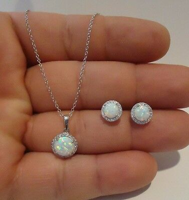 925 STERLING SILVER  EARRING & NECKLACE PENDANT SET W/ 4 CTS LAB DIAMONDS/ OPAL