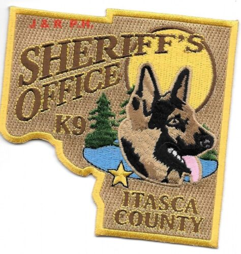 "Itasca County Sheriff K-9, Minnesota (4"" x 4"" size) shoulder police patch (fire)"