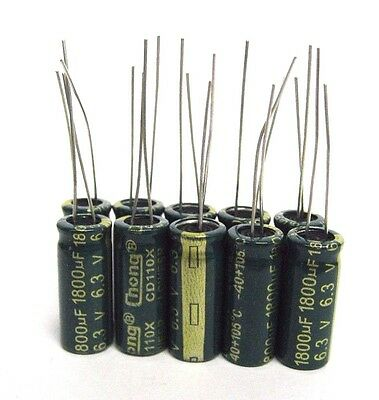 10pcs Electrolytic Capacitors 6.3v 1800uf Volume 8x20 Mm 1800uf 6.3v